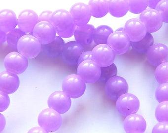 x 20 round 6 mm purple glass beads