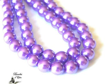 110 Pearly purple glass beads 8mm