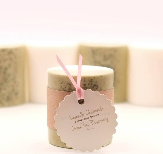 Lavender Chamomile Bar & Green Tree Rosemary Bar (2 bars total) | 4oz ea. | Lovely Semi-cylinder Shape | Calms as they Cleanse
