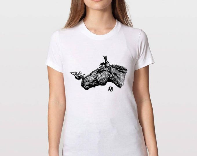 KillerBeeMoto: Mouse Taking A Swan Dive Off Of Horses Nose On A T-Shirt