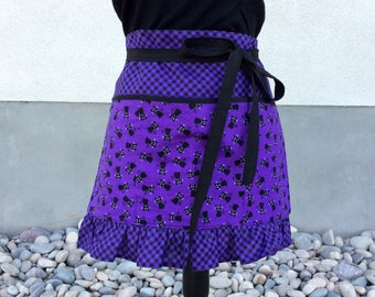 Teacher Apron with Pockets, Halloween Purple with Black Cats Ruffle Apron, Craft, Vendor, Utility, Cooking Apron