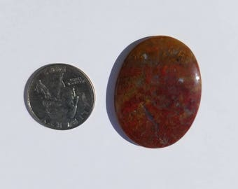 Red and Gold Moss Agate cabochon