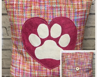 Heart and paws - pink, multicolour, and cream fabric woolly paw print cushion