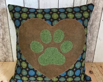Heart and paws - green and brown woolly boden fabric, paw print cushion