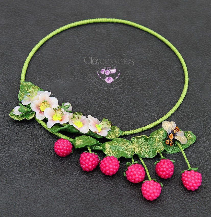 Raspberries necklace / Floral necklace / Bee necklace / Choker necklace / Statement necklace / Bib necklace / Polymer clay necklace