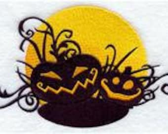 Embroidered Patch / applique - halloween pumpkin jack o lantern filigree - sew, glue or iron on patch any colors