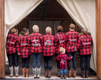 IN STOCK Ships in 3 Days Bridal Flannels Flannels Red Black Buffalo Plaid Women's Flannels Womens Bridal Party Flannels Wedding Day Flannels