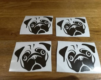Pug set of 4 vinyl stickers for car,wall,pet toy box,glass,bottle,window,mirror,laptop,ipad case,etc