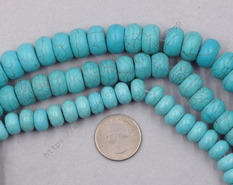 12-16mm Synthetic Turquoise Rondelle Beads -- Smooth Loose Tiny Spacers Chunky Bead Wholesale YHA-340
