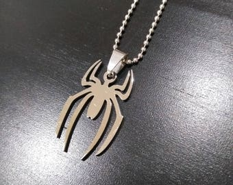 Spider charm- Spiderman- Silver on a ball chain