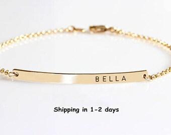 Custom Name bracelet, Skinny Bar bracelet, Engraved Personalized bracelet, Initial Bracelet, Nameplate Monogram, Mothers bracelet