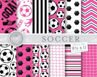 SOCCER Digital Paper / Pink Soccer Printables / Soccer Patterns, Sports Theme, Soccer Downloads, DIY Soccer Party Paper