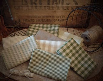 Herb Garden Homespun Fabric~Primitive~Rag Quiliting~Accents~Ties~Bows~