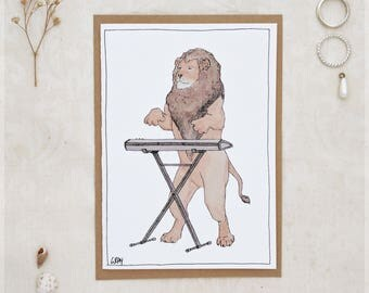 The Lion & His Keyboard ~ Greeting Card from Original Ink and Watercolour Painting