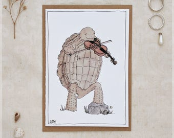 The Tortoise & His Violin ~ Greeting Card from Original Ink and Watercolour Painting
