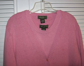 Sweater Set XL, Eddie Bauer Light Pink Shell and Cardigan, Cotton Knit Sweater Set, - see details