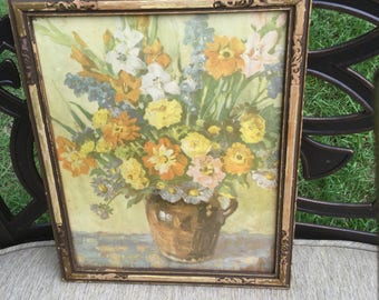 Pretty  vintage framed floral print