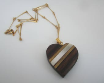 Vintage Wooden Embedded Heart Pendant-Fancy Chain-FREE SHIPPING (US)