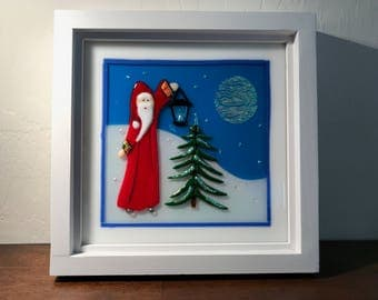 "10"" square framed fused glass Christmas scene;"