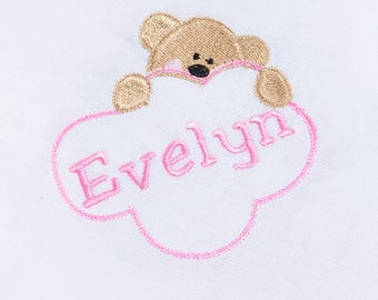 Personalised Baby Girl Muslin Square Cloth Embroidered With Babies Name