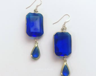 Raindrops: Vintage, Blue, Acrylic-Bead Earrings