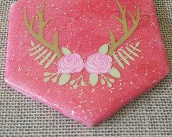 Deer antler and flowers tile beverage coaster