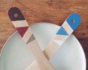 Special Edition Painted Wooden Spatula in Geometric Design - Blue / Brown Triangle Pattern - Etsy x Annie Sloan - Kitchen Utensil