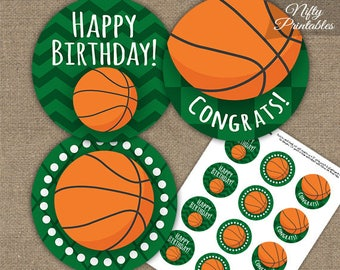 Basketball Cupcake Toppers - Printable Basketball Birthday Party Decorations - Kids Adults Sports Favor Tags BASK