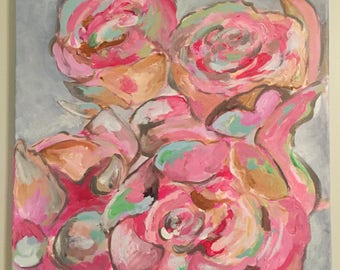 Abstract flower painting, acrylic canvas painting, original art, wall decor, peonies