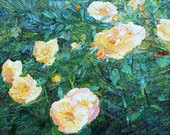 Original floral oil painting, textured palette knife painting of roses, flowers, contemporary art, Aminovart