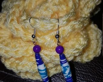 handmade paper bead earrings