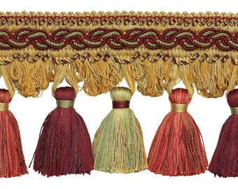 """Wine Gold  4"""" Baroque Tassel Fringe   Style# Tfb1 Color:  Autumn Leaves - 5716 (sold by The Yard)"""