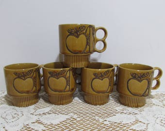 Retro Coffee Mugs ~ Gold Ceramic Stacking Coffee Cups ~ Group of 5 ~ Mad Men Coffee Cups  ~ Made in Japan