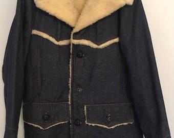 70's Sears ROEBUCKS DENIM Western Style Chore Coat Small 36R