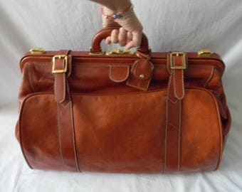 Massive Vintage Bally Cognac Leather Doctor Bag Style Weekender Bag