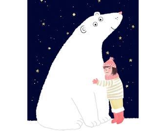 Polar Bear Cuddle Birthday Card