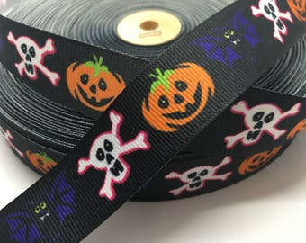 3 yards Halloween Pumpkin skull and bat on black grosgrain ribbon