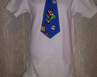 Mario Fabric Tie  Applique White Bodysuit  Size 6 -12 Months Ready to Ship