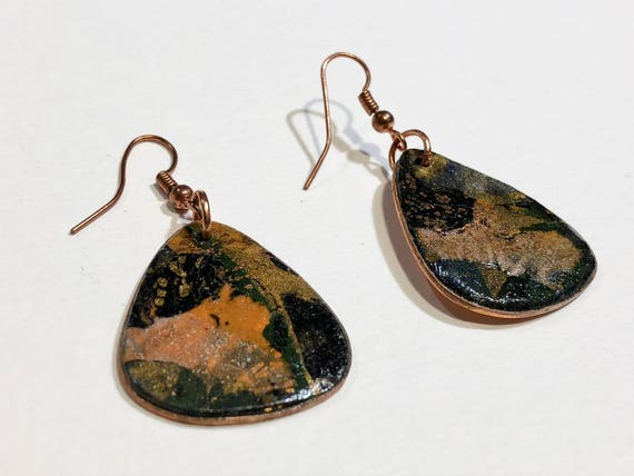 Handmade guitar pick drop polymer clay earrings with abstract designs (multi-colors)