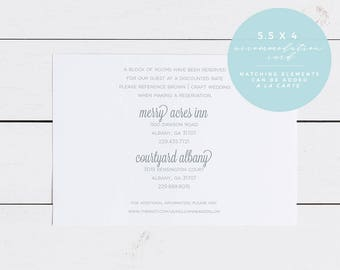 Floral Wedding Accommodation Insert Card, Printed OR Printable 5.5X4 Wedding Accommodation Card, Mint to Be