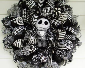 Jack Skellington Wreath, Nightmare Before Christmas Wreath, Pumpkin King Wreath, Halloween Wreath, Deco Mesh Halloween Wreath