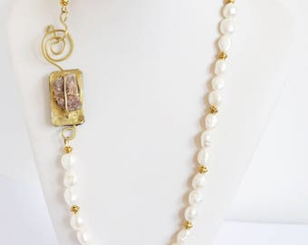 rustic freshwater pearls necklace, handmade necklace, handmade clasp, brass clasp, rustic clasp, ethnic necklace, white pearls necklace,