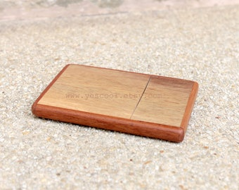 Wooden Business Card Holder Wood Case Credit Card Slim Card Holder with Lock #3