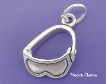 SKI GOGGLES Charm .925 Sterling Silver Skiing Instructor Skier Pendant - lp2488
