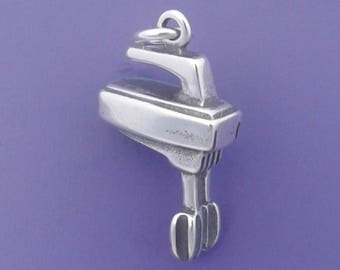 Electric Hand MIXER Charm .925 Sterling Silver Cooking, Baking, Chef Pendant - d35522