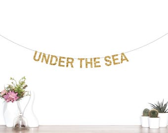 Under The Sea Banner, Under The Sea Party Decorations, Mermaid Party, Mermaid Banner, Mermaid Garland, Birthday Banner, Glitter Banner