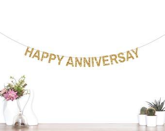 Happy Anniversary Banner,  Glitter Party Banner, Anniversary Party Decorations, Happy Anniversary Decor, 25th Anniversary, 50th Anniversary