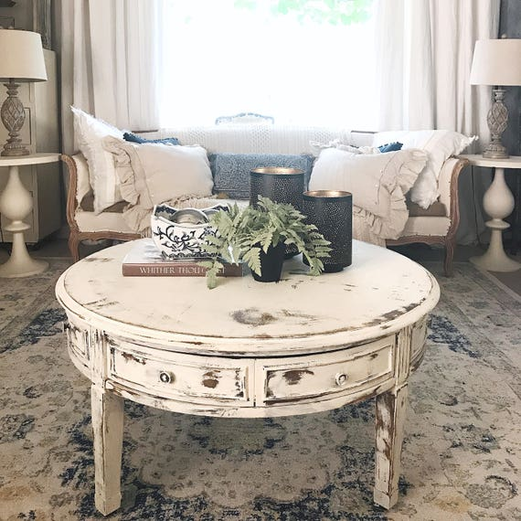 Coffee table white distressed round living room table for Distressed white round coffee table