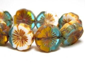 5 HawaiinFlower Beads, Nature Beads, Blue Yellow Flower Beads, Glass Flower Beads, Flower Beads, Daisy Beads, Colorful Flower Beads, T-39C