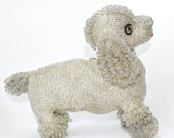 Rare 50s Vintage Novelty Silver Beaded Poodle Dog Clutch Purse Walborg Style